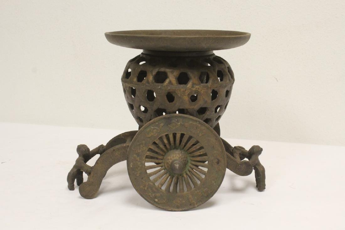 Japanese cast iron ikebana planter in wagon motif