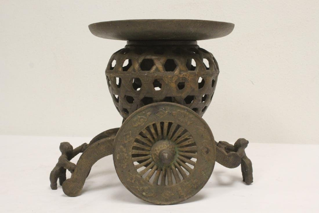 Japanese cast iron ikebana planter in wagon motif - 2