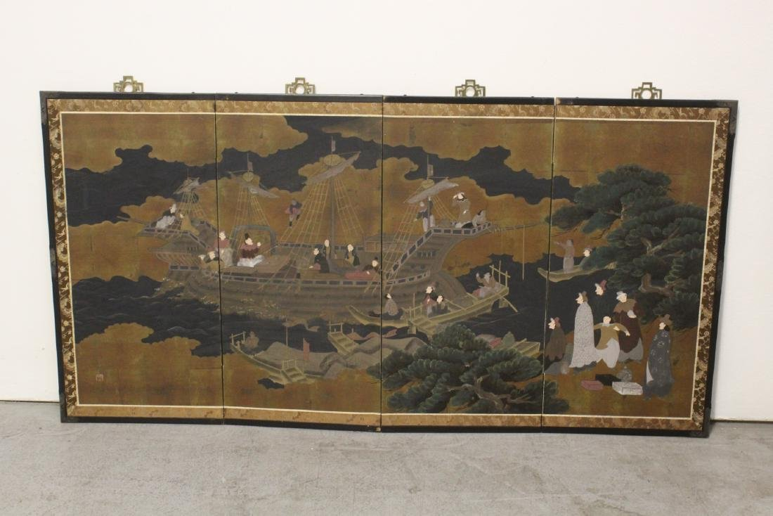 19th/20th century Japanese 4-panel screen