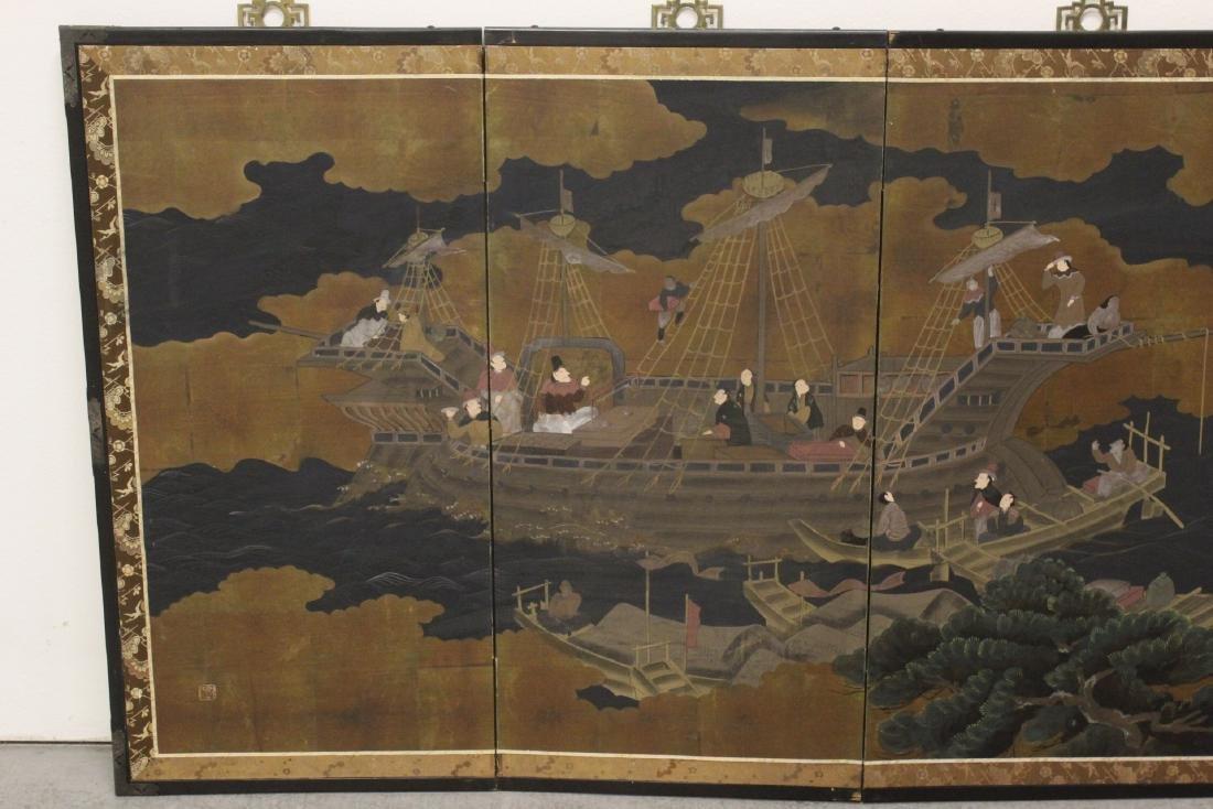 19th/20th century Japanese 4-panel screen - 2