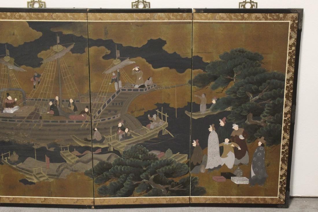 19th/20th century Japanese 4-panel screen - 3