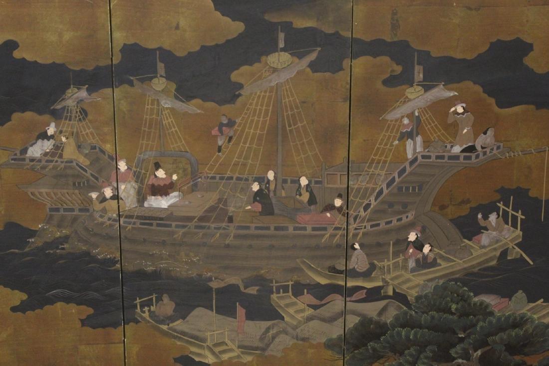 19th/20th century Japanese 4-panel screen - 4