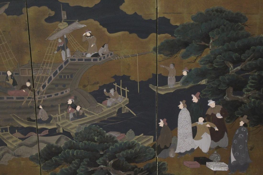19th/20th century Japanese 4-panel screen - 5
