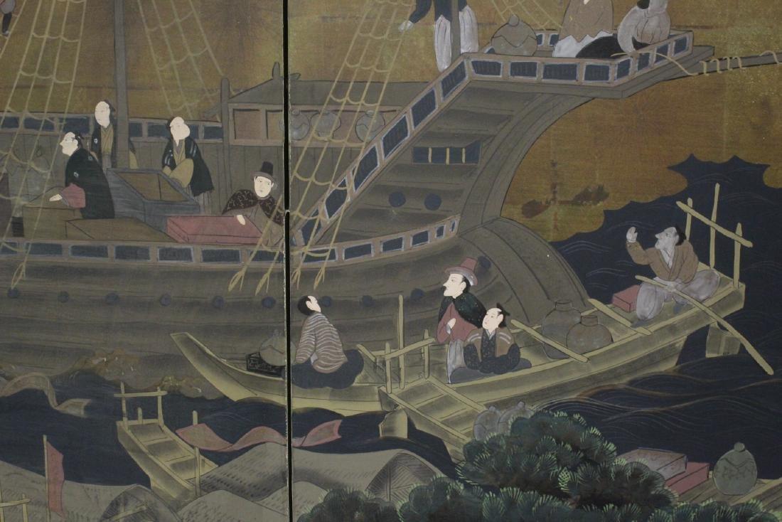 19th/20th century Japanese 4-panel screen - 6