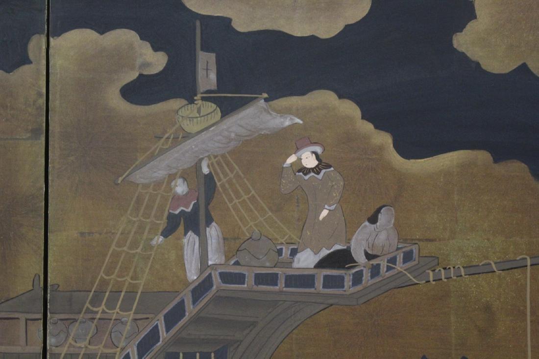 19th/20th century Japanese 4-panel screen - 7