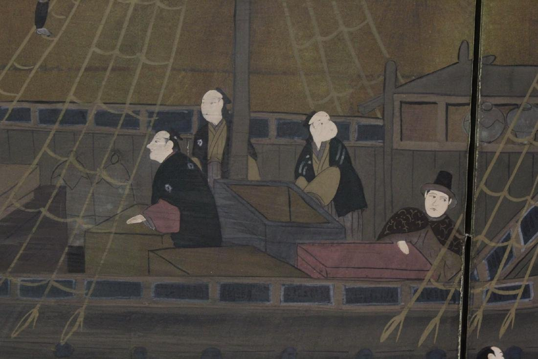 19th/20th century Japanese 4-panel screen - 8