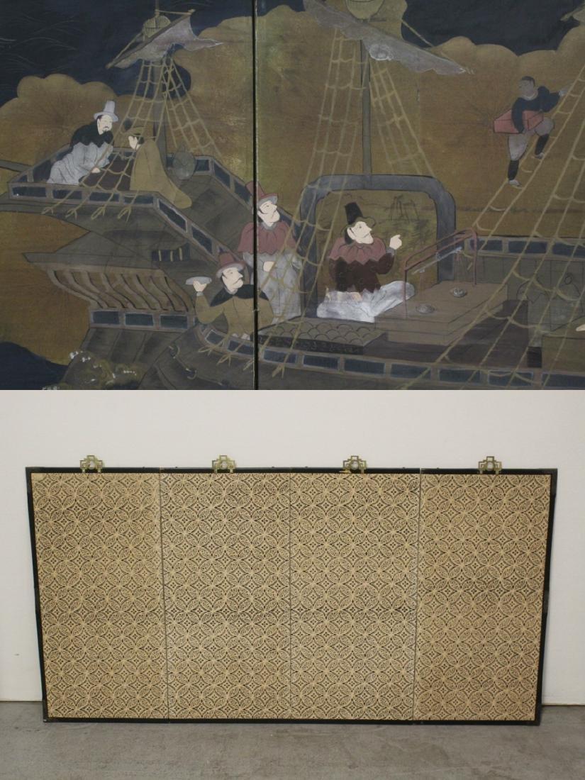 19th/20th century Japanese 4-panel screen - 9