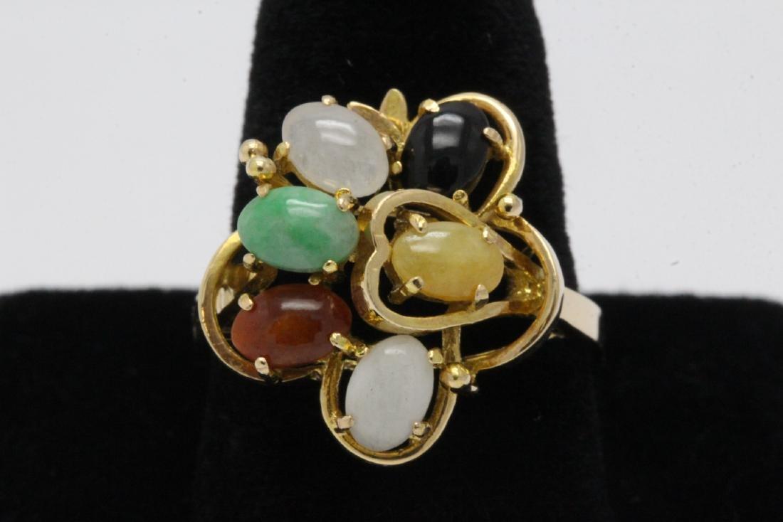 14K rose gold ring set with multi-color jadeite
