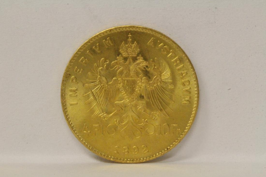 2 French dated 1892 gold coins, total wt. 6.4gm - 10