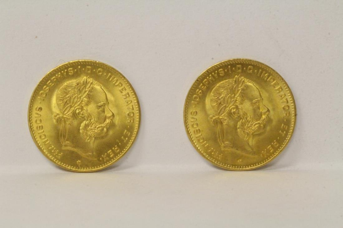 2 French dated 1892 gold coins, total wt. 6.4gm
