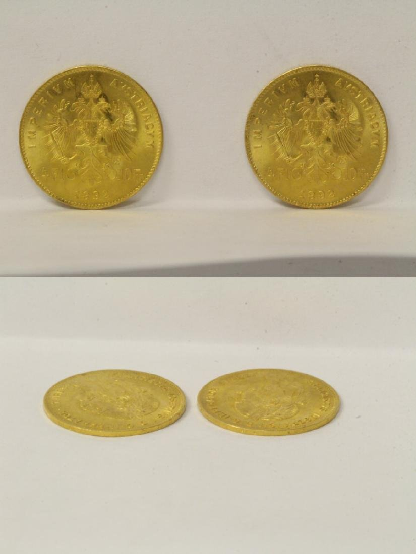 2 French dated 1892 gold coins, total wt. 6.4gm - 8