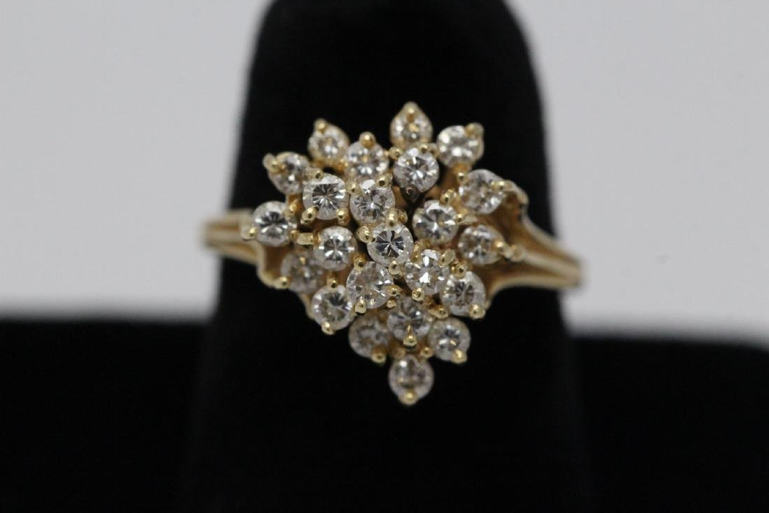 14K Y/G cocktail diamond ring
