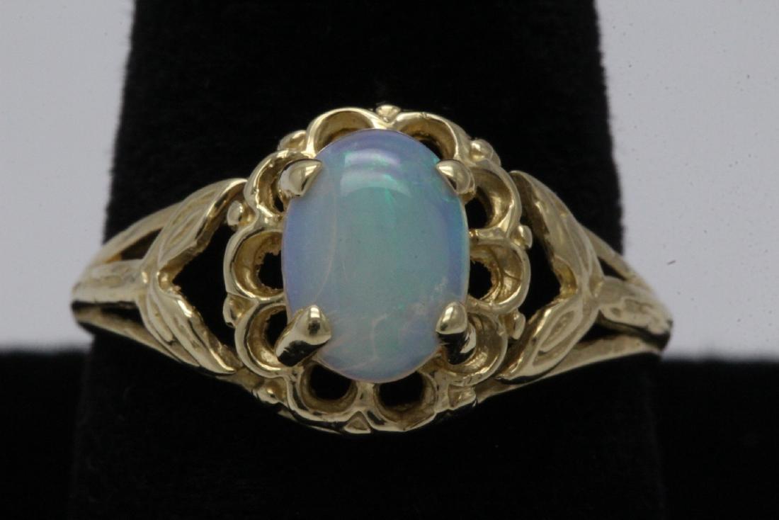 14K Y/G opal ring