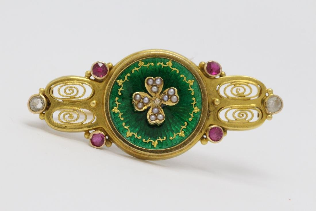 antique French 18K enamel brooch w/ seed pearl & ruby