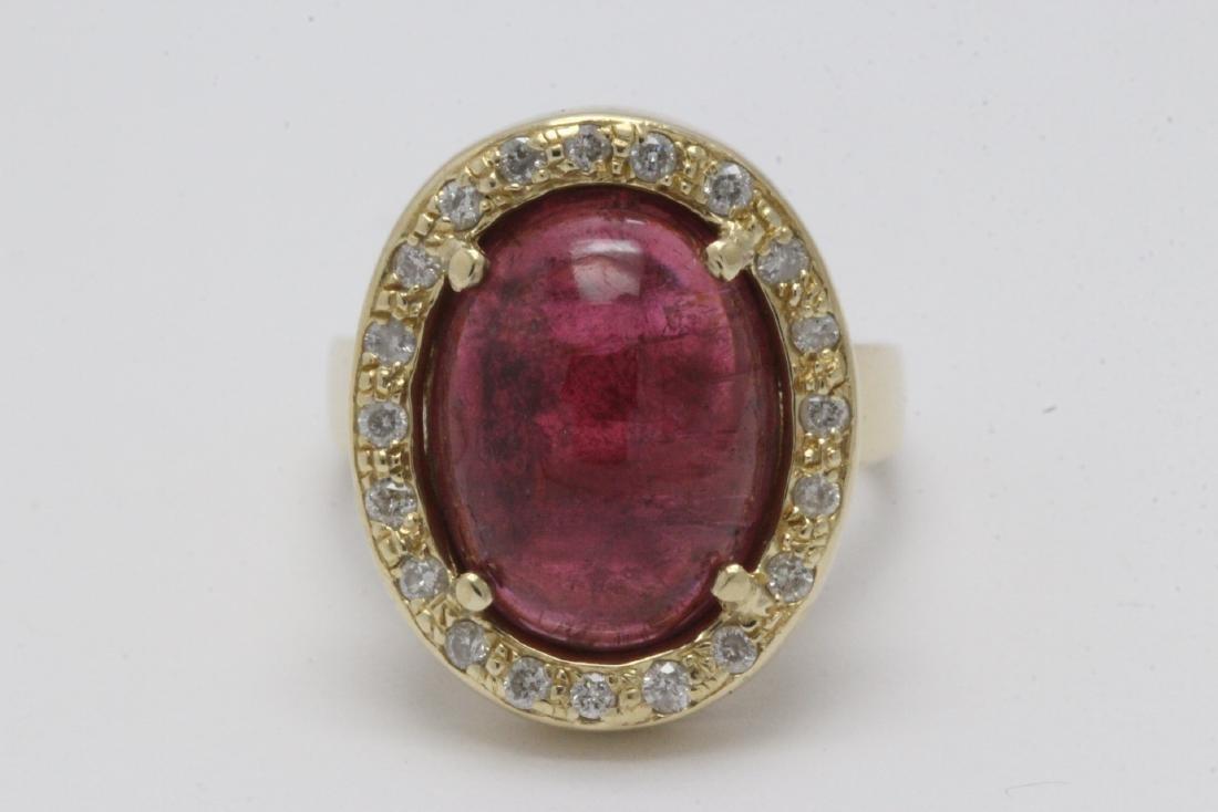 14K Y/G tourmaline diamond ring