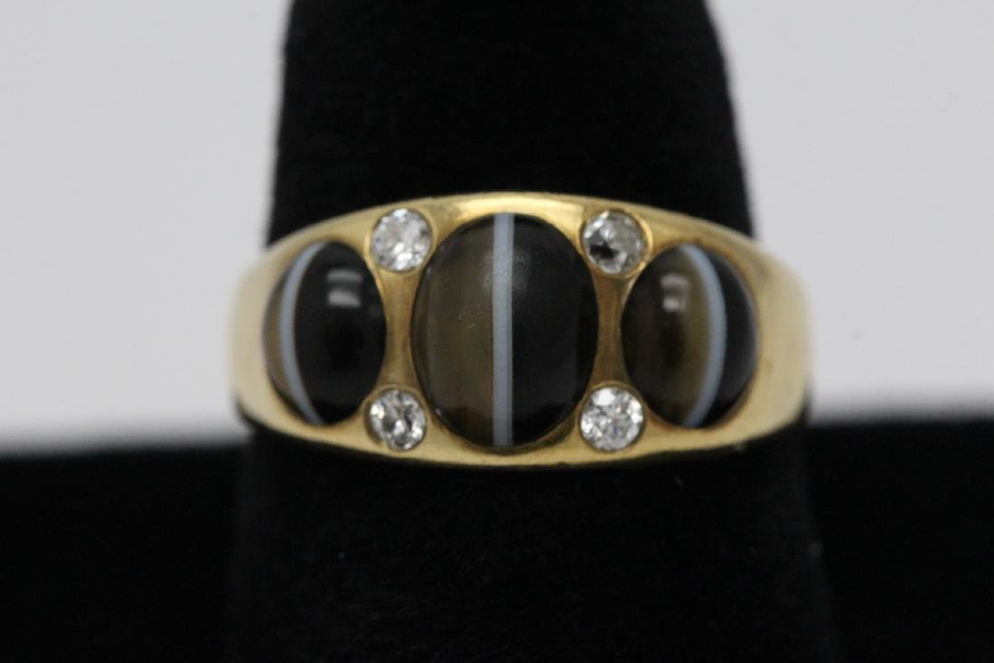 18K Y/G cat eye style stone and diamond ring