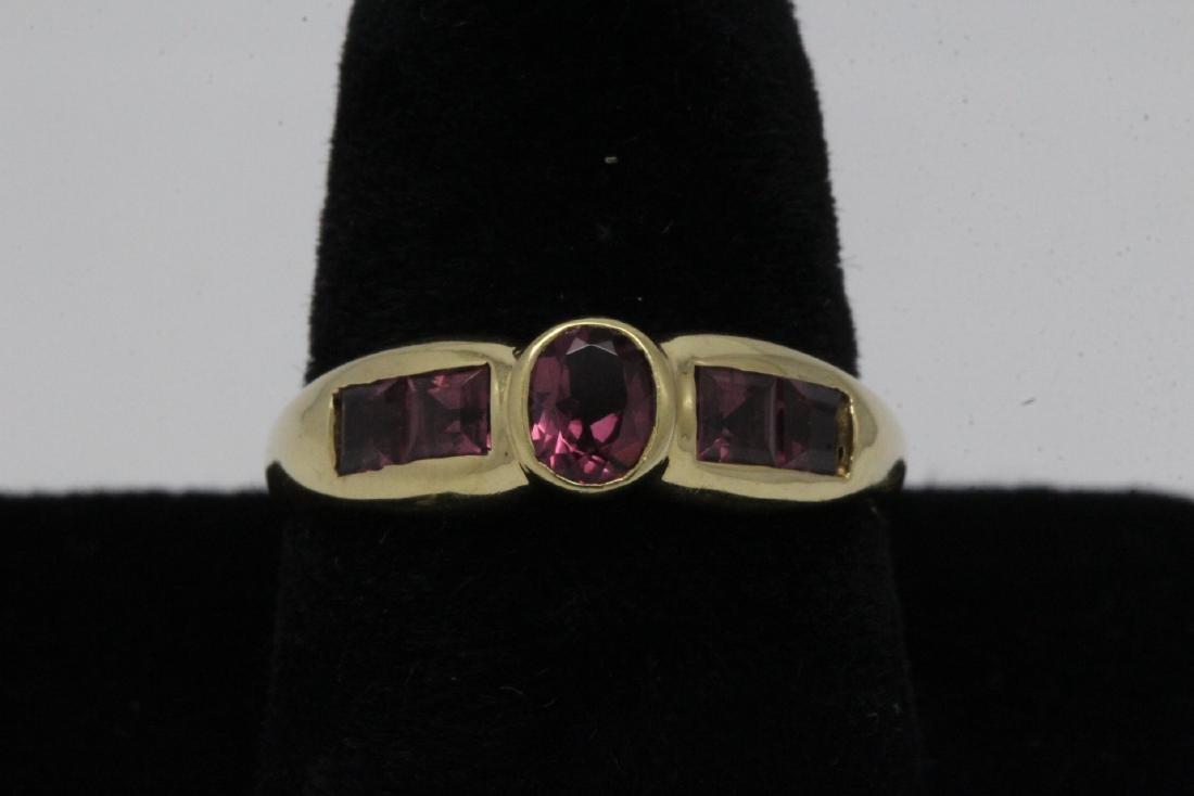 14K Y/G purple stone ring