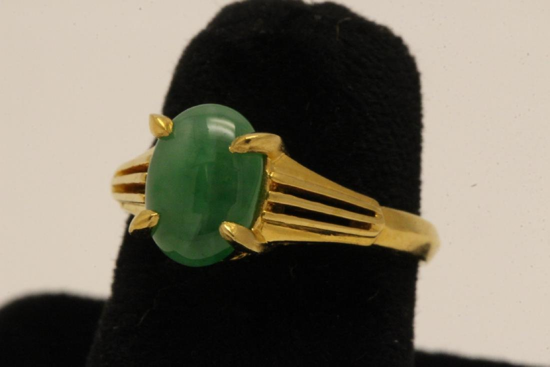 Chinese early 20th c. 10K rose gold jadeite ring - 2