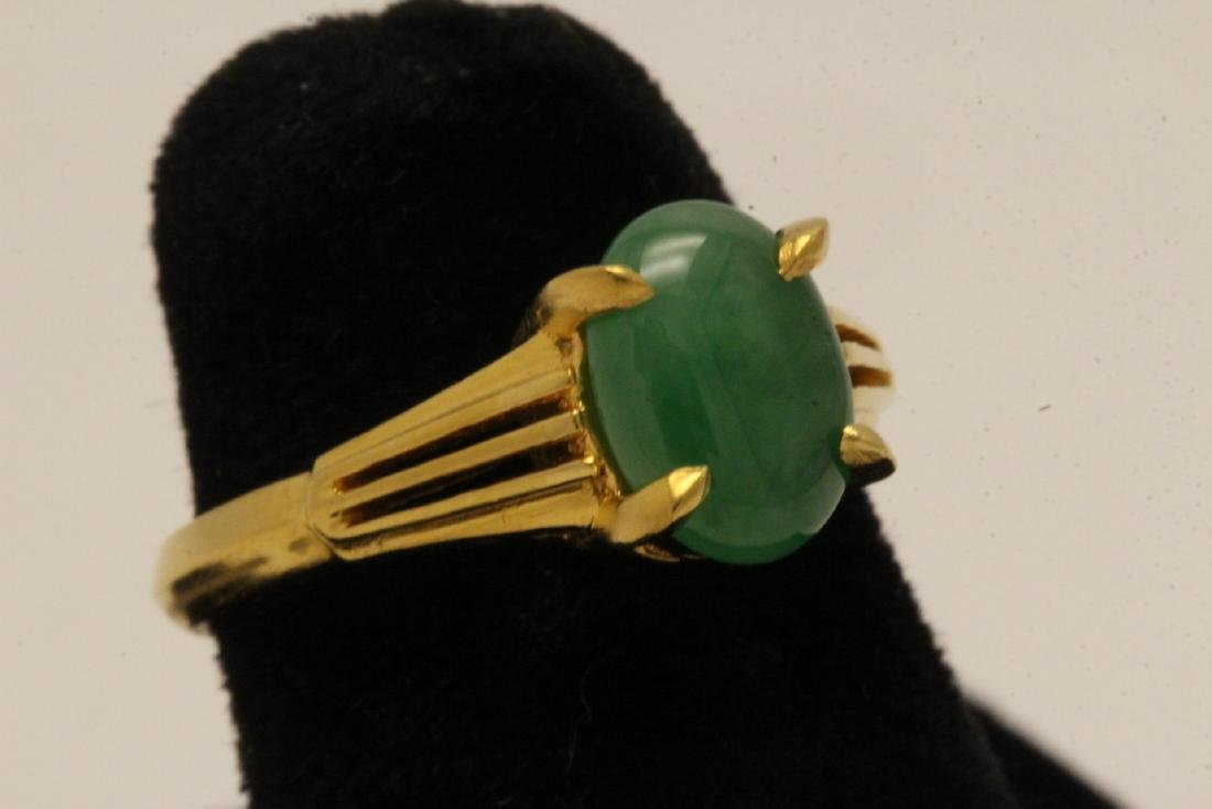 Chinese early 20th c. 10K rose gold jadeite ring - 3
