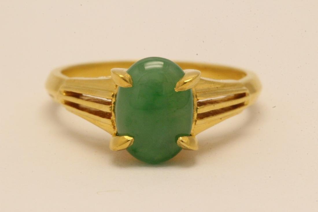 Chinese early 20th c. 10K rose gold jadeite ring - 5