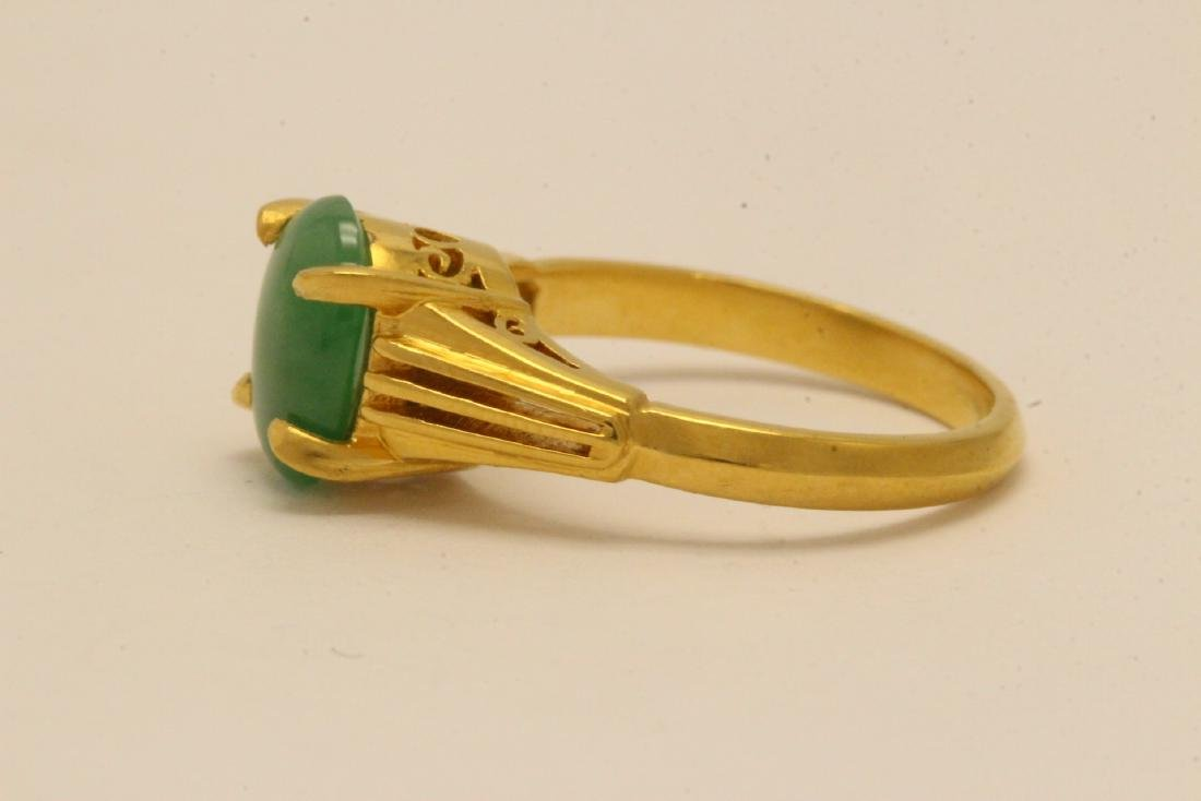 Chinese early 20th c. 10K rose gold jadeite ring - 6