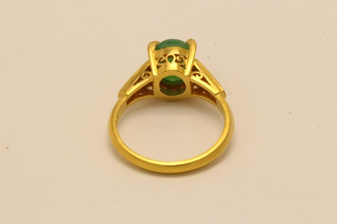 Chinese early 20th c. 10K rose gold jadeite ring - 8