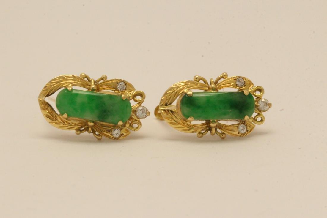 Pair Chinese 16K Y/G jadeite earrings