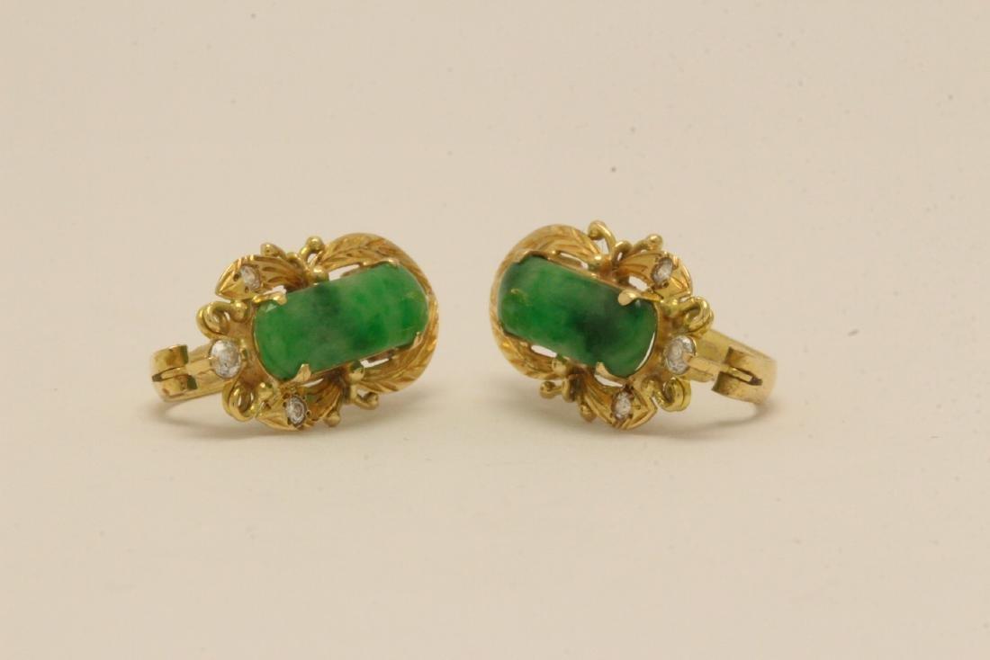 Pair Chinese 16K Y/G jadeite earrings - 2