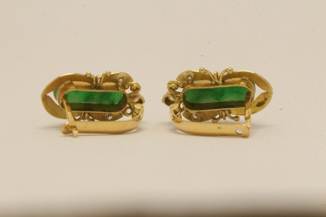 Pair Chinese 16K Y/G jadeite earrings - 4