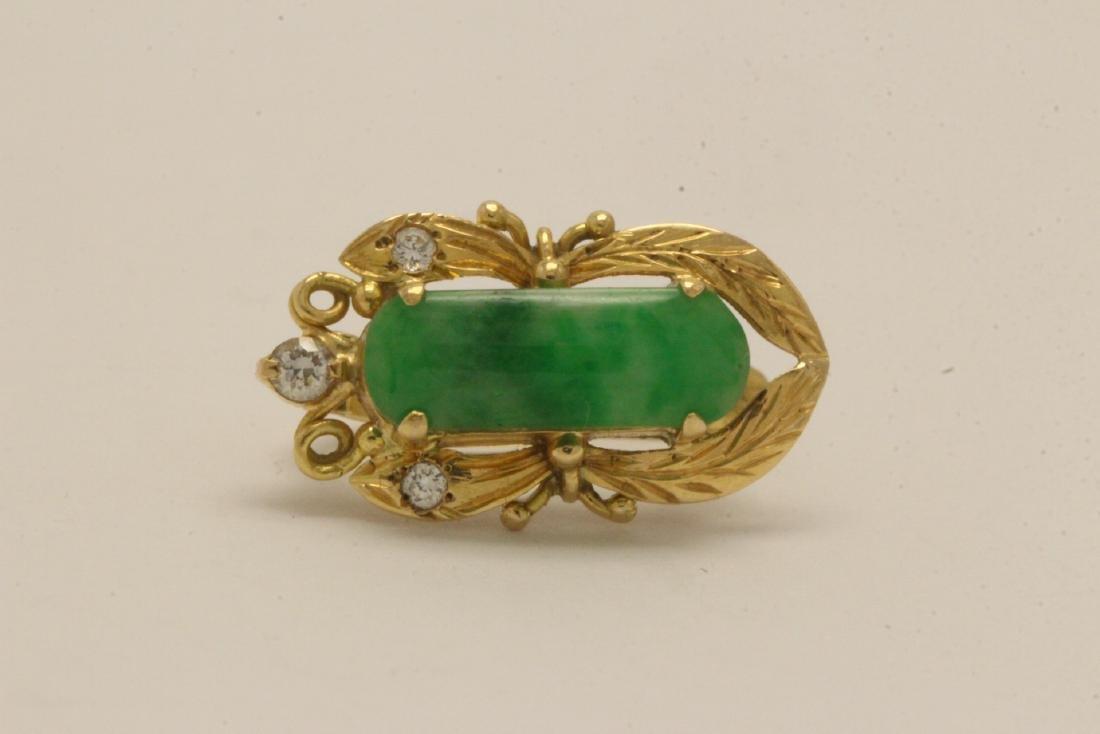 Pair Chinese 16K Y/G jadeite earrings - 5