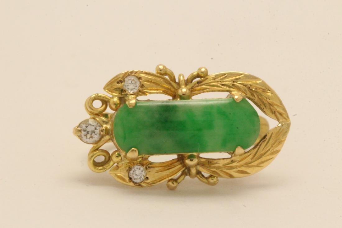 Pair Chinese 16K Y/G jadeite earrings - 6
