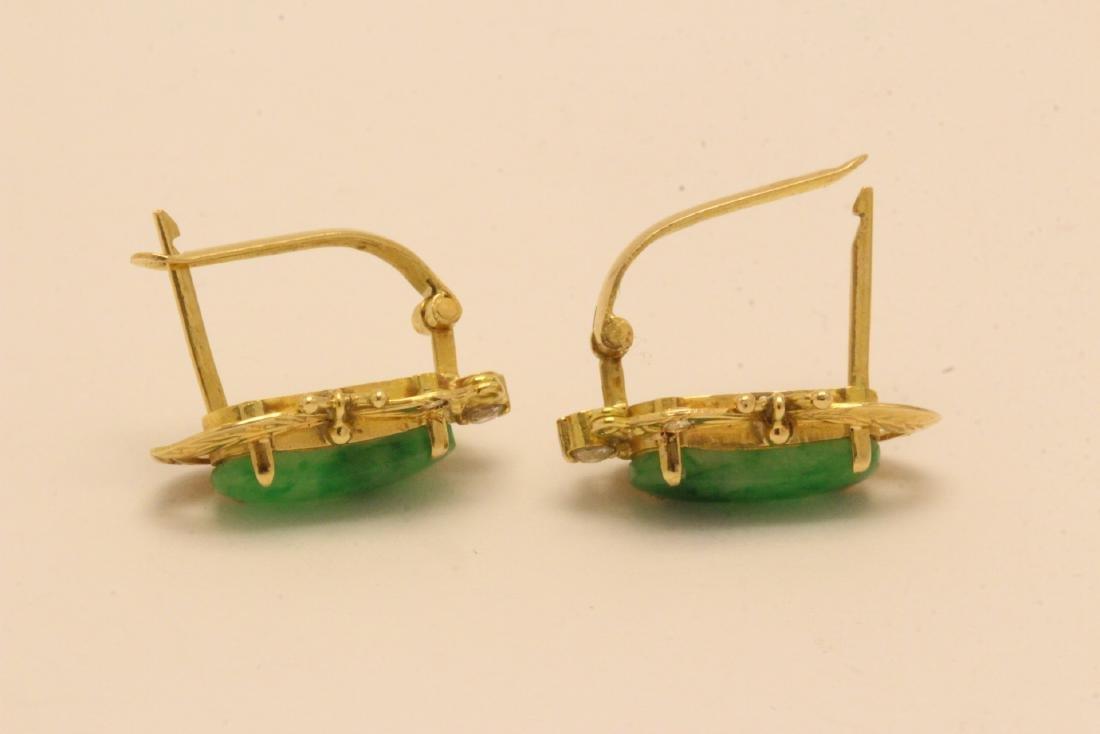 Pair Chinese 16K Y/G jadeite earrings - 7