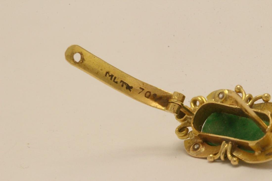 Pair Chinese 16K Y/G jadeite earrings - 8
