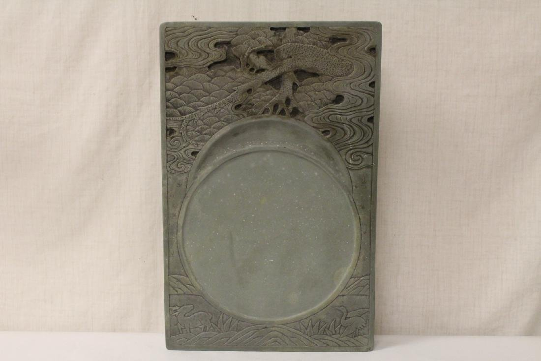 A massive Chinese stone carved inkwell - 2