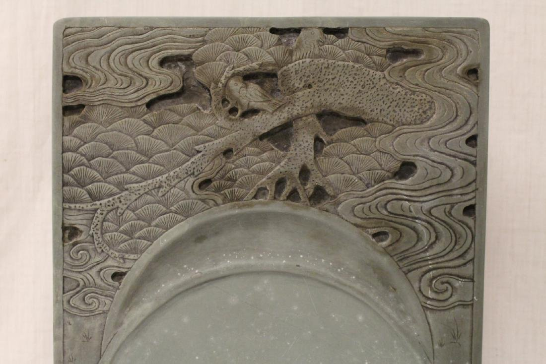 A massive Chinese stone carved inkwell - 4