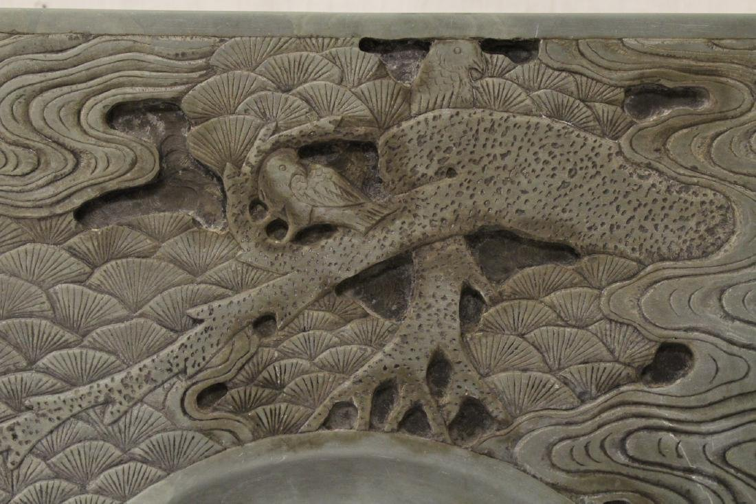 A massive Chinese stone carved inkwell - 5
