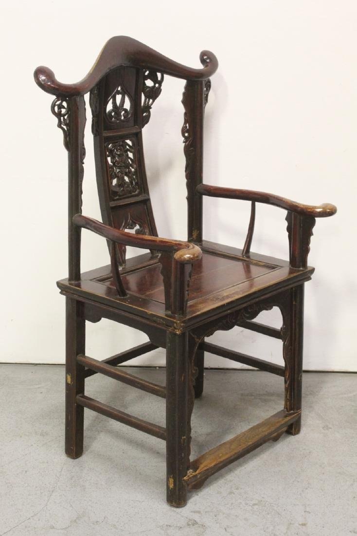 Pair Chinese 19th century armchairs - 10