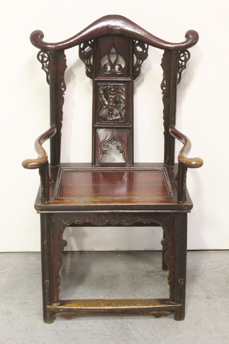 Pair Chinese 19th century armchairs - 8