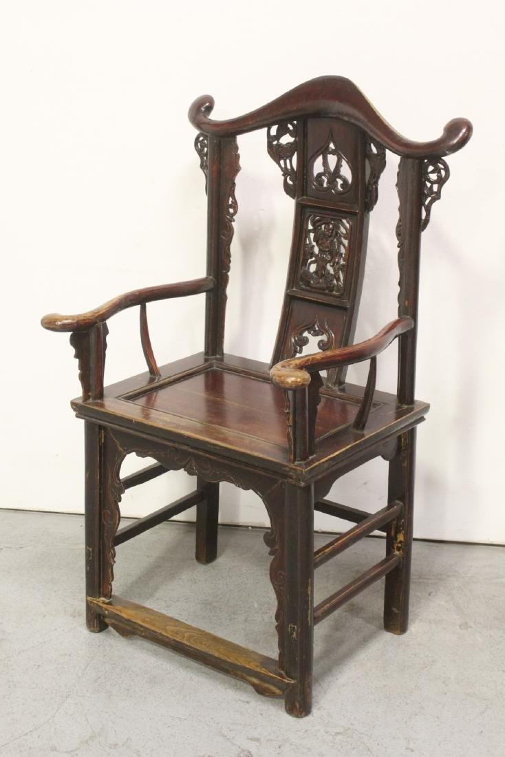 Pair Chinese 19th century armchairs - 9