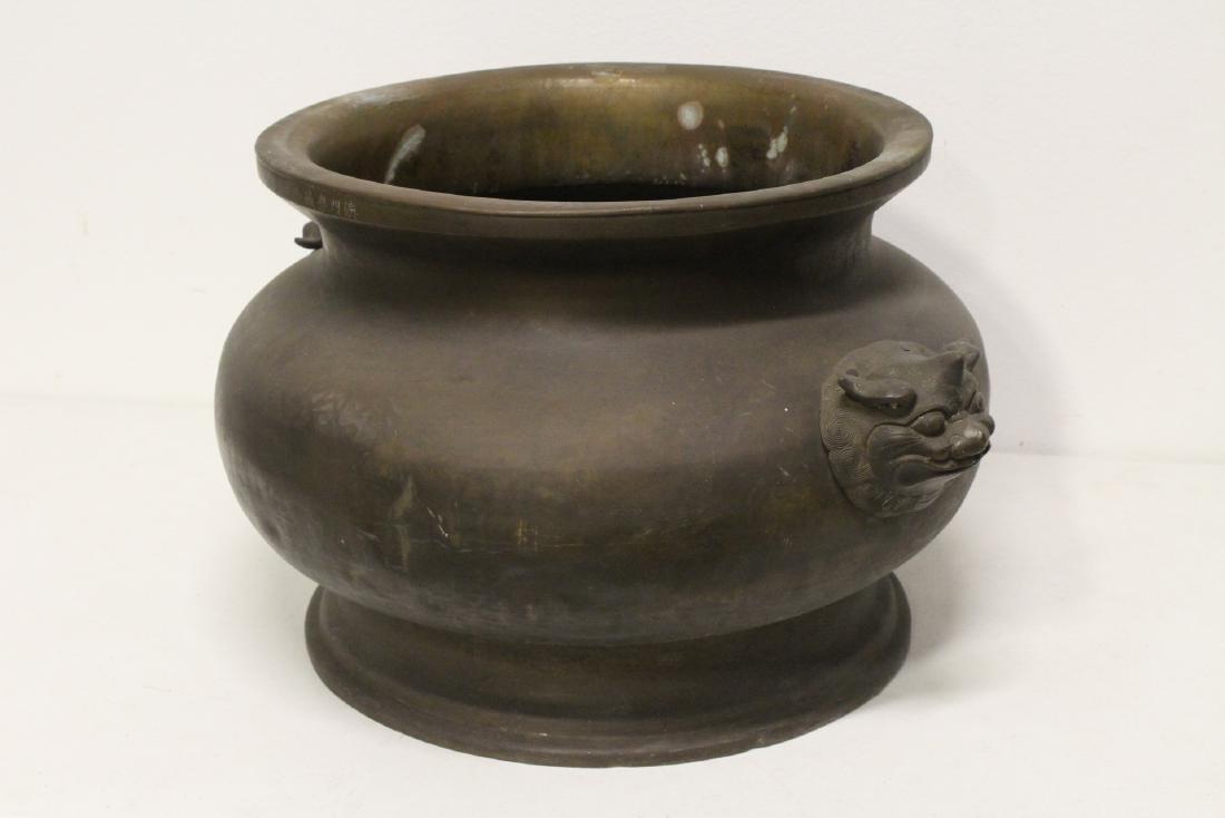 massive Chinese antique bronze temple censer - 4
