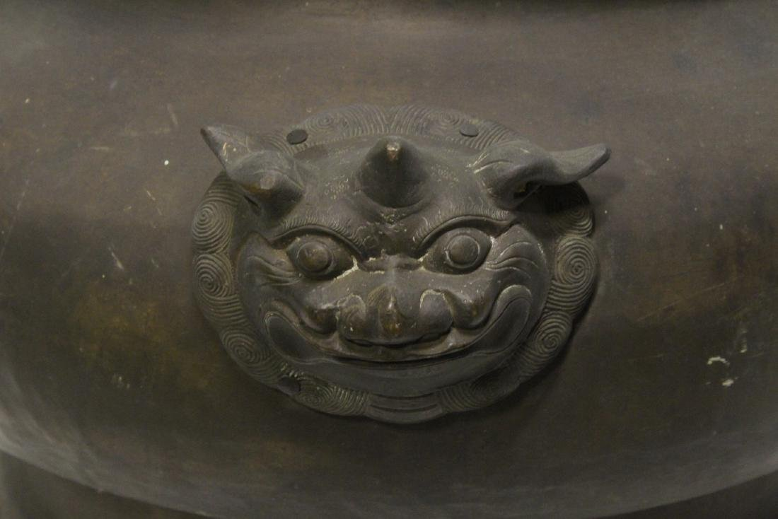 massive Chinese antique bronze temple censer - 6