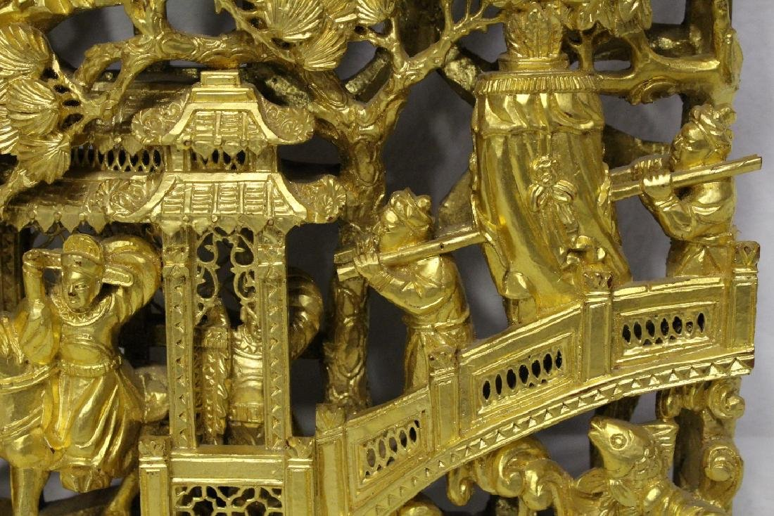 A beautiful Chinese antique gilt wood carving - 9