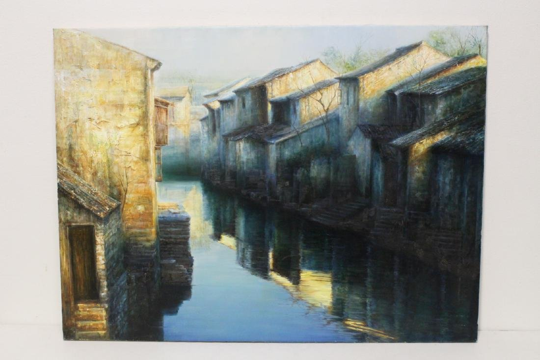 Large Chinese oil on canvas painting by Zhao Jing