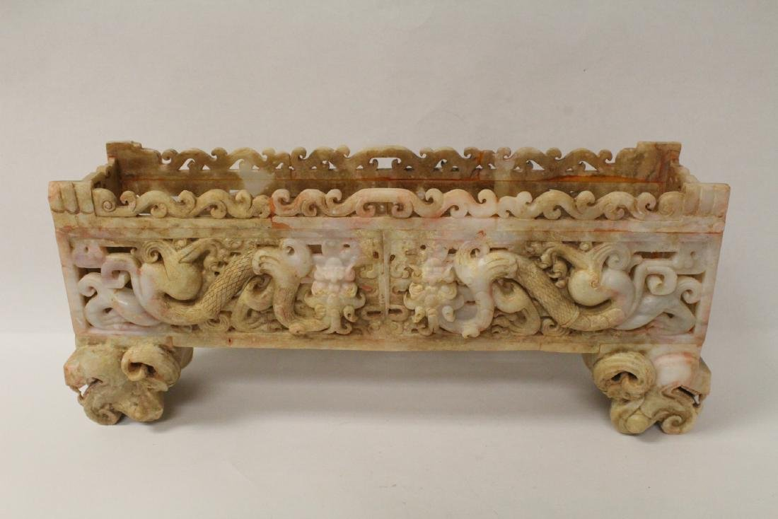 Chinese white jade carved rectangular ding