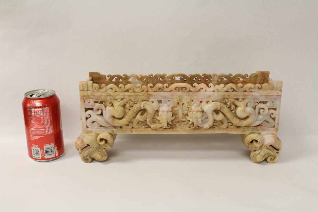 Chinese white jade carved rectangular ding - 2