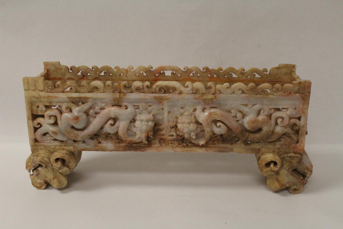 Chinese white jade carved rectangular ding - 8
