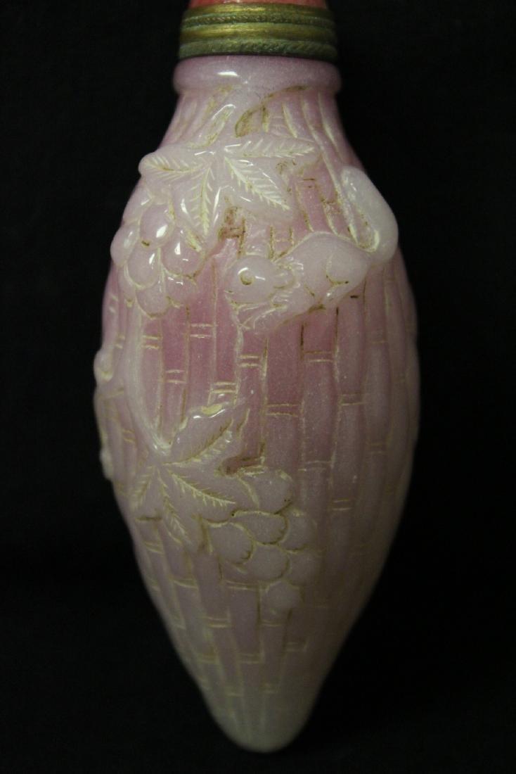Unusual melon shape Peking glass snuff bottle - 2