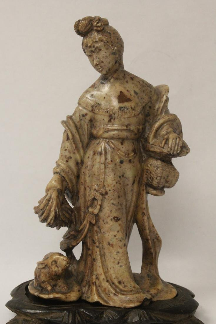Chinese antique shoushan stone carving w/ original - 2