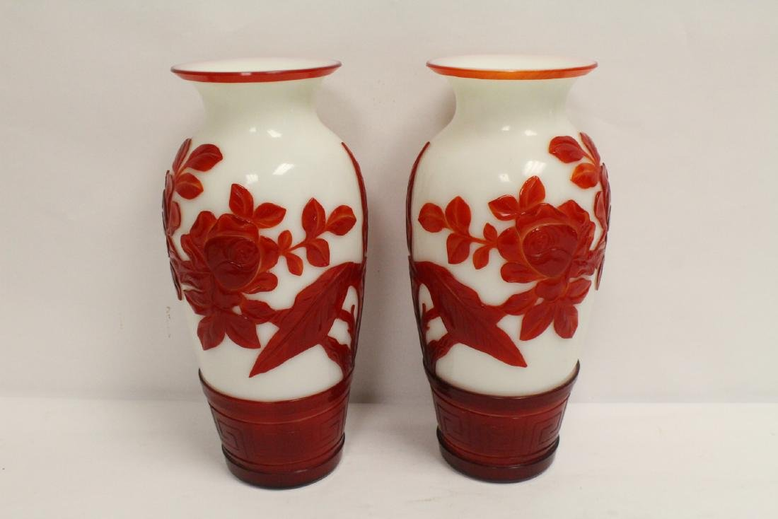 Pair red overlay Peking glass vases