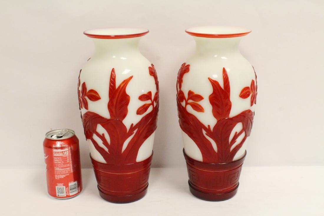 Pair red overlay Peking glass vases - 3